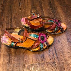 L'artiste Spring Step Floral Slide Sandals Wedge